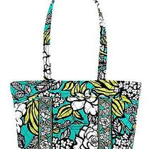 Vera Bradley-Little Mandy in Island Blooms White Yellow Green Shopper Tote Photo