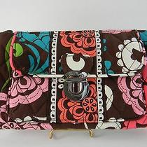 Vera Bradley Lola Push Lock Wallet Wristlet Clutch Floral Brown Pink Green Vguc  Photo