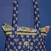 Vera Bradleymaison Bluesmall Villagerdouble Handle Tote/hand Bagblue/yellow Photo