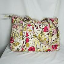 Vera Bradley Make Me Blush Betsy Tote Purse Green Pink Floral Photo