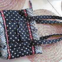 Vera Bradley Medium Paisley Flower Shoulder Bag Black Red Quilted Tote Shopper Photo