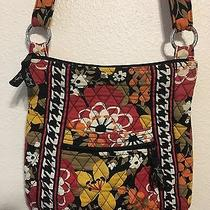 Vera Bradley Messenger Bag Purse Pocket-Book Floral Black Fall Colors Photo
