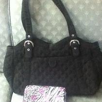 Vera Bradley Microfiber Black Diaper Baby Bag Purse With Free Gift Photo