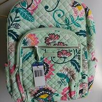 Vera Bradley Mint Flowers Iconic Campus Backpack Quilted Laptop New Photo