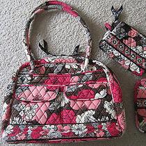 Vera Bradley Mocha Rouge Set Bowler Bag Cosmetic Eyeglasses Case 3pc Set Euc Photo