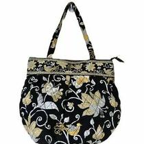 Vera Bradley Morgan Black Yellow White Bird Shoulder Bag Hobo Tote Handbag Photo