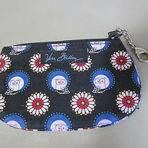 Vera Bradley Night Owl Coin Purse Id Holder Zip Wallet Black Blue Retired Photo