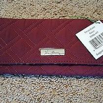 Vera Bradley Nwt Trifold Wallet Raisin Color Microfiber Retail 48 Wine Bag Photo