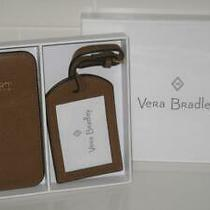 Vera Bradley Passport Cover & Luggage Tag in Cognac Leather Nwt Boxed Set 78 Photo