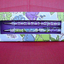 Vera Bradley Pen and Pencil Set Purple Watercolor  New in Box  Photo