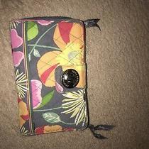 Vera Bradley Pink Brown Floral Turn Lock Zip Around Organizer Clutch Wallet  Photo