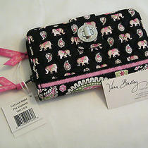 Vera Bradley Pink Elephants Turn Lock Wallet for Purse Tote Backpack Bag  Nwt Photo