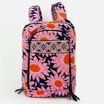 Vera Bradley Pink Orange Navy Floral Cotton Fabric Laptop Backpack  Photo