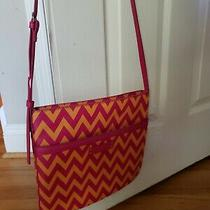 Vera Bradley Purse Pink Orange Chevron Leather Crossbody Strap. Ziggy Zags Photo