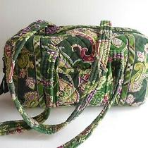 Vera Bradley Quilted Green Paisley Floral Duffle Dbl Handle Bag Purse 5