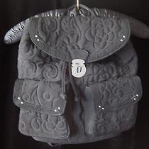 Vera Bradley Quilted Microfiber Backpack  Black - Euc Photo