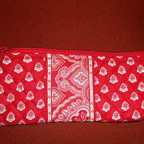 Vera Bradley Red Paisley Makeup Small Cosmetic Pencil Case Lined W/zipper 4x9 Photo