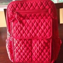 Vera Bradley Red Quilted Microfiber Backpack Euc Photo