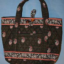 Vera Bradley Retired Houndstooth Purse Handbag Paisley Floral Print Toggle Tote Photo