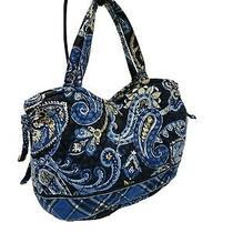 Vera Bradley Retired Women Purse Handbag Hobo Blue Paisley Snap Top Small Photo
