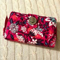 Vera Bradley Rfid Turnlock Wallet Bloom Berry Large Cotton Nwt Msrp 65 Photo