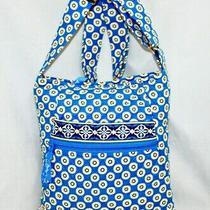 Vera Bradley Riviera Blue Hipster Crossbody Purse Medallion Print Bag Nwot Yellw Photo