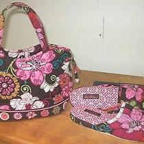 Vera Bradley Satchel Hand Bag & Matching House Slippers Size S 5-6 Brown & Pink Photo
