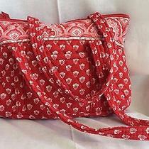 Vera Bradley Shoulder Hobo Tote Purse Bag Handbag Red Floral  12x18 Euc Photo