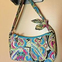 Vera Bradley Silk Shoulder Bag Small Purse Turquoise Paisley Limited Edition Wow Photo
