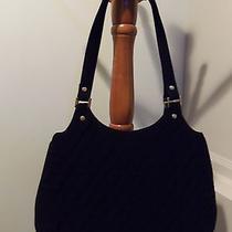 Vera Bradley Slim Hobo Handbag Black Microfiber Excellent Condition Photo