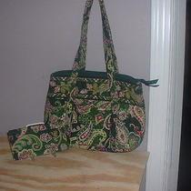 Vera Bradley Small Betsy Tote  & Checkbook Cover Chelsea Green Pattern Photo