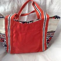 Vera Bradley Small Colorblock Tote Bag Orange and Navy Euc Photo