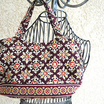 Vera Bradley Small Tote Bag Floral Medallions Brown Orange Yellow Red Quilted  Photo