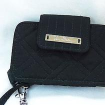 Vera Bradley Smartphone Wristlet Black Microfiber Quilted Excellent Condition Photo