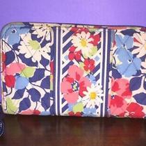 Vera Bradley Summer Cottage Zip Wallet Floral Pink Blue White Excellent Cond Photo