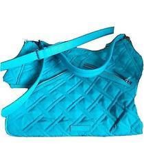 Vera Bradley Teal Vivian Style Hobo Tote or Shoulder Bag Photo