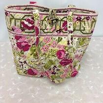 Vera Bradley Toggle Tote Green/pink/yellow/white Make Me Blush Pattern 12x14x4