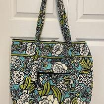 Vera Bradley Tote Bag Island Bloom Pattern Teal Green White Quilted Purse Euc  Photo