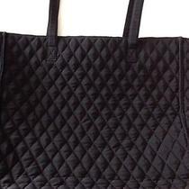Vera Bradley Tote Bag- Quilted Black Microfiber Matching Wallet Photo