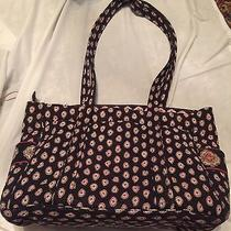 Vera Bradley Tote Shoulder Bag Large Travel Bag Blue Print Photo