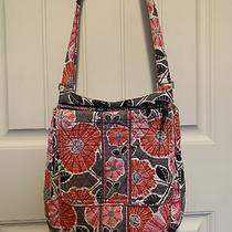 Vera Bradley Tote Shoulder Purse Bag Pink Gray Floral Daisy Poppy Photo