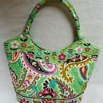 Vera Bradley Tote Tutti Frutti Green Floral Paisley Bucket Double Strap Handbag Photo