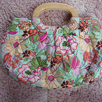 Vera Bradley Tropical Silk Kelly Bag Purse Wood Handles Floral Limited Edition  Photo