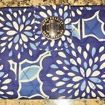 Vera Bradley Turn Lock Wallet in Blue /cream Floral Fabric Photo