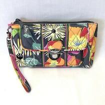 Vera Bradley Turnlock Wallet Wristlet Clutch Floral Pink Orange Gray Zipper Photo