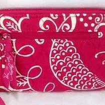Vera Bradley Twirly Birds Pink Zip Around Wallet Clutch Wristlet New Hot Pink   Photo