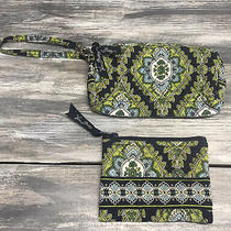 Vera Bradley Wristlet and Small Wallet Retired Cambridge Print Green Navy Photo