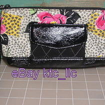 Vera Bradley Wristlet Purse Ltd. Edition Black Microfiber Make Me Blush Retired Photo