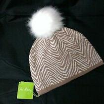 Vera Bradley Zebra Intarsia Cozy Knit Hat With Fleece Ear Warmer Tan Cream Nwt Photo