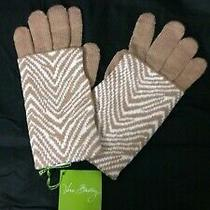 Vera Bradley Zebra Intarsia Cozy Tech Gloves 2 Layered Multi Way Knit Tan Cream Photo